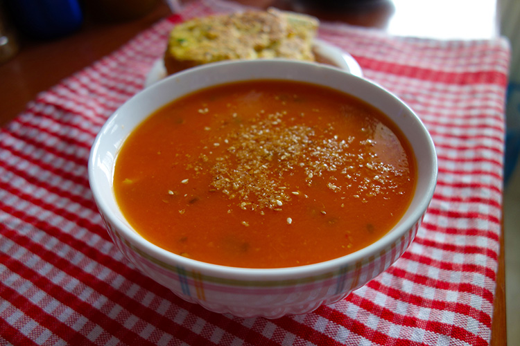 Tomato Soup with Toasted Seeds & Cauliflower