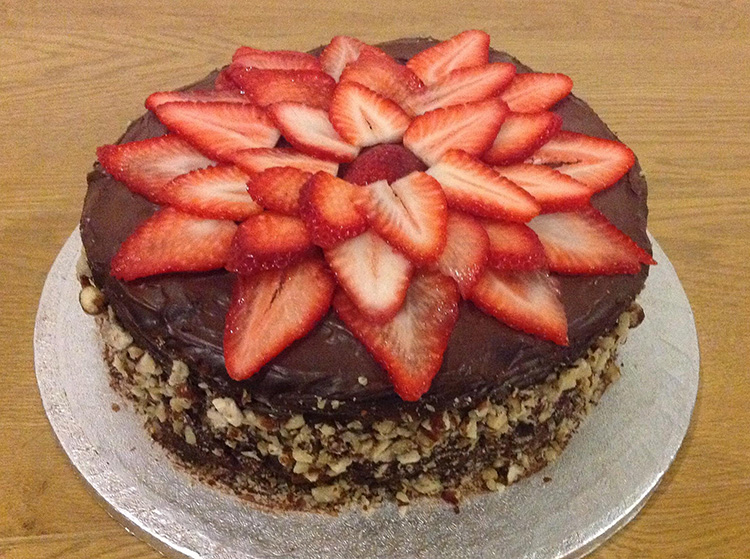 Sponge Cake with Dark Chocolate, Hazelnut & Strawberry